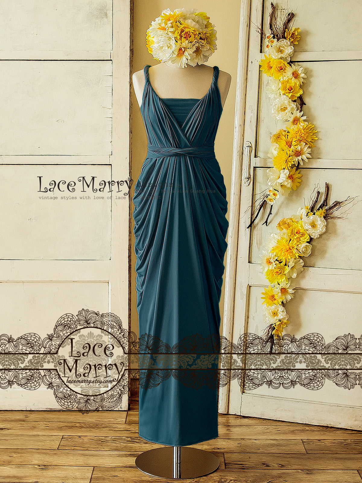 Ocean Blue Infinity Dress for Beach Bridal Party