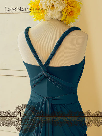Elastic Bridesmaid Dress in Blue Color