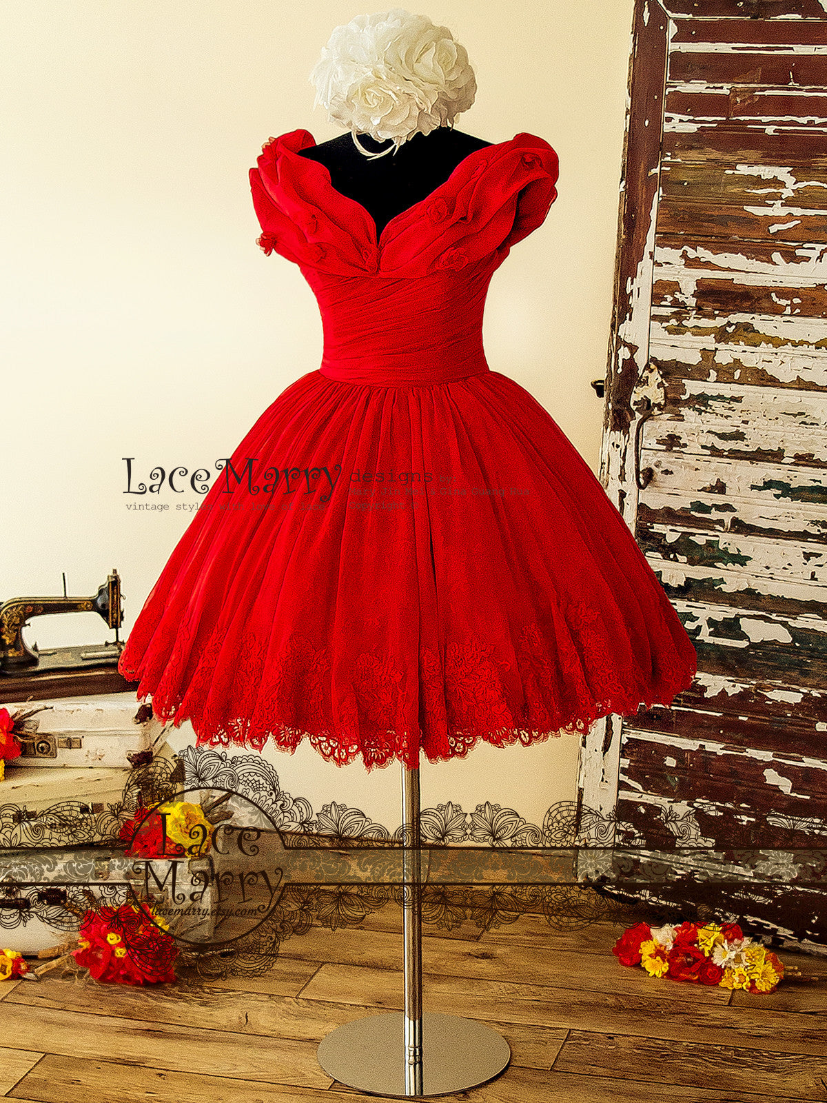 Red Princess Style Prom Dress
