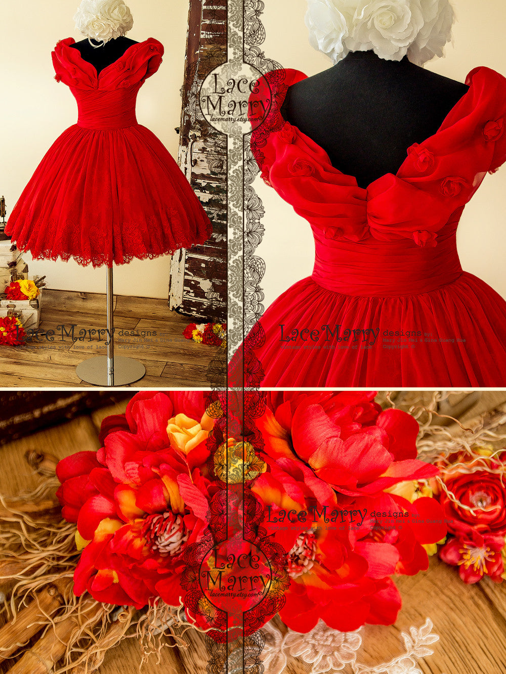 Princess Style Short Red Dress with Off Shoulder