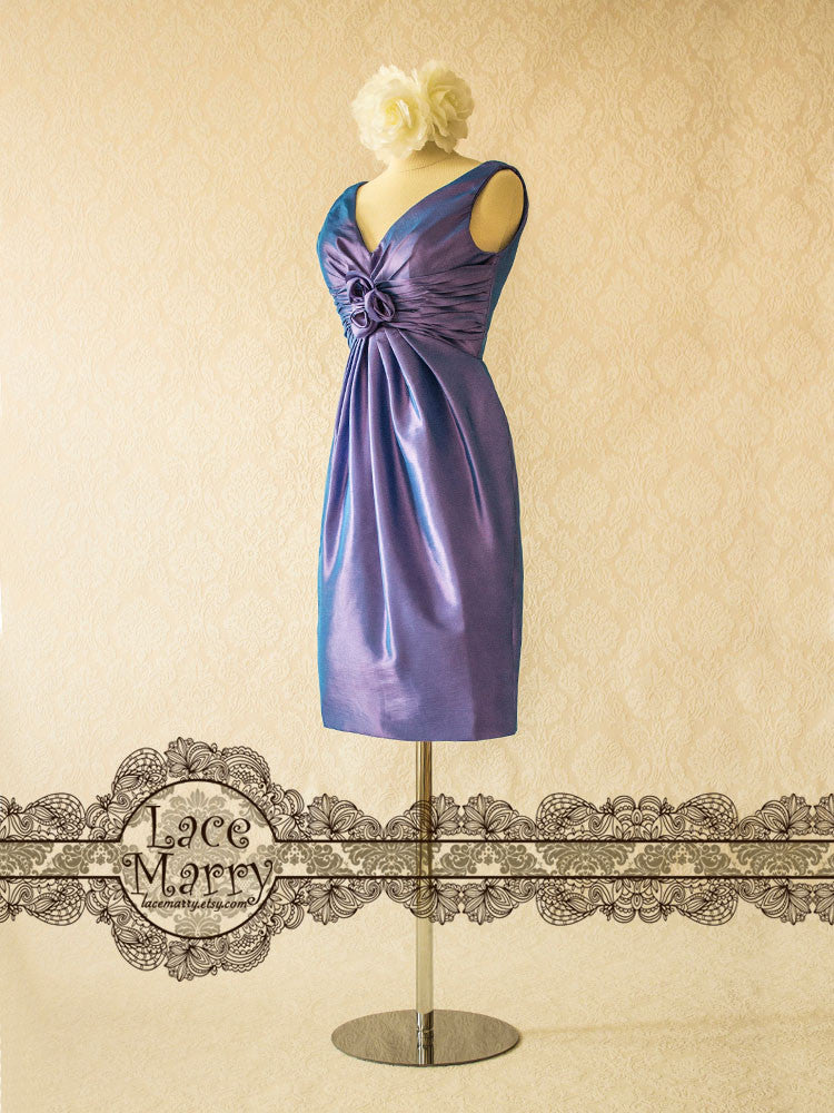 Purple Bridesmaid Dress with Ruched Front Design