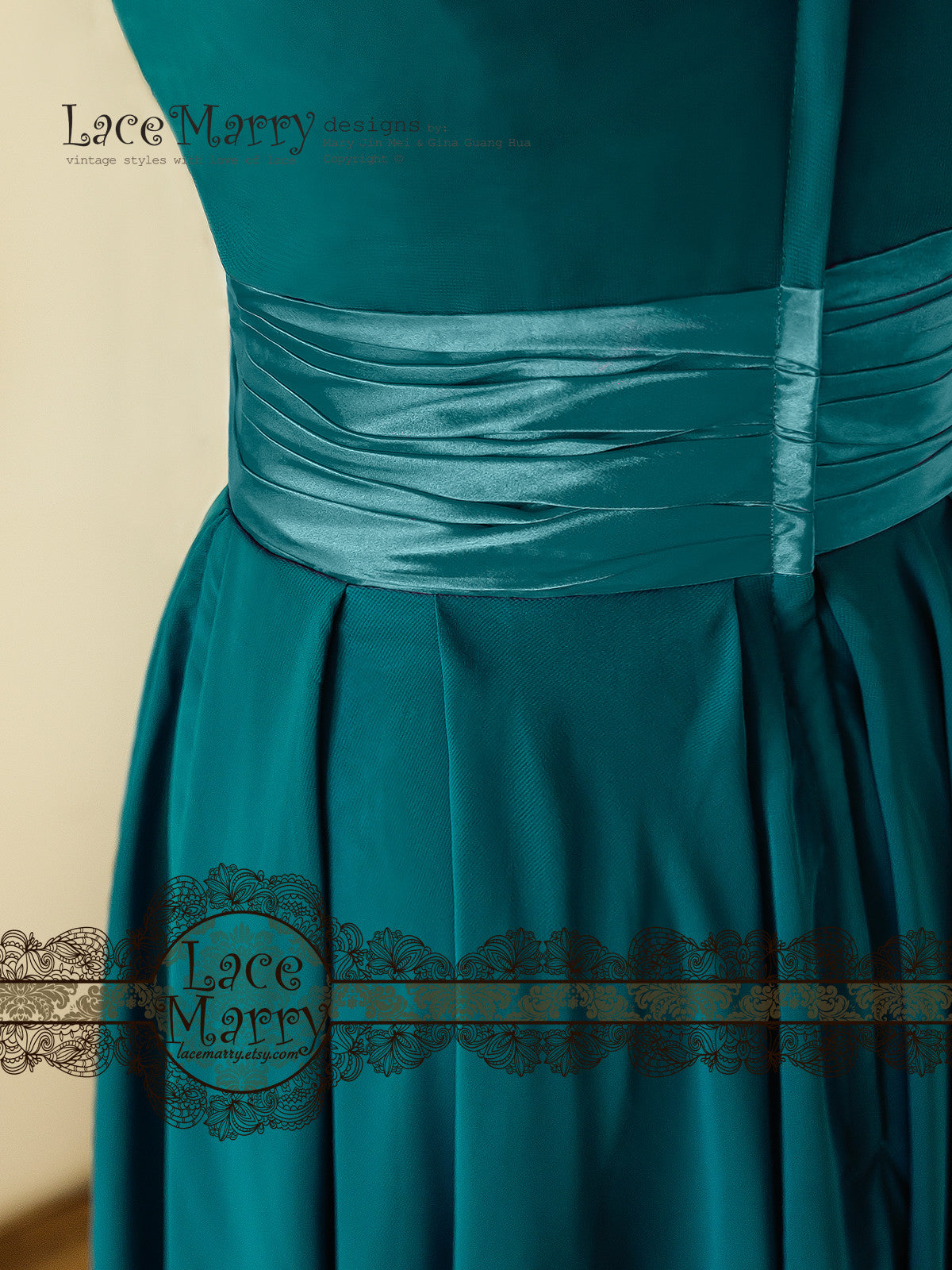 Bridesmaid Dress with Built-in Silky Satin sash