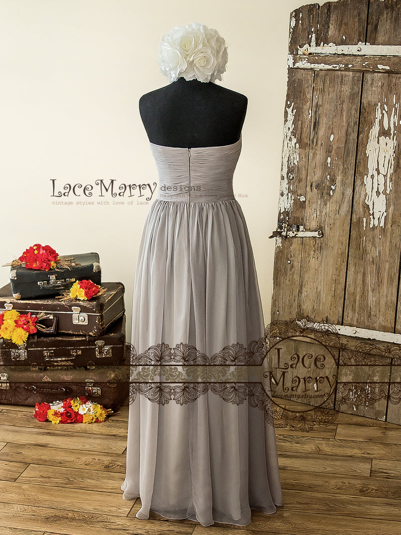 Silky Chiffon Bridesmaid Dress with Strapless Ruched Neckline
