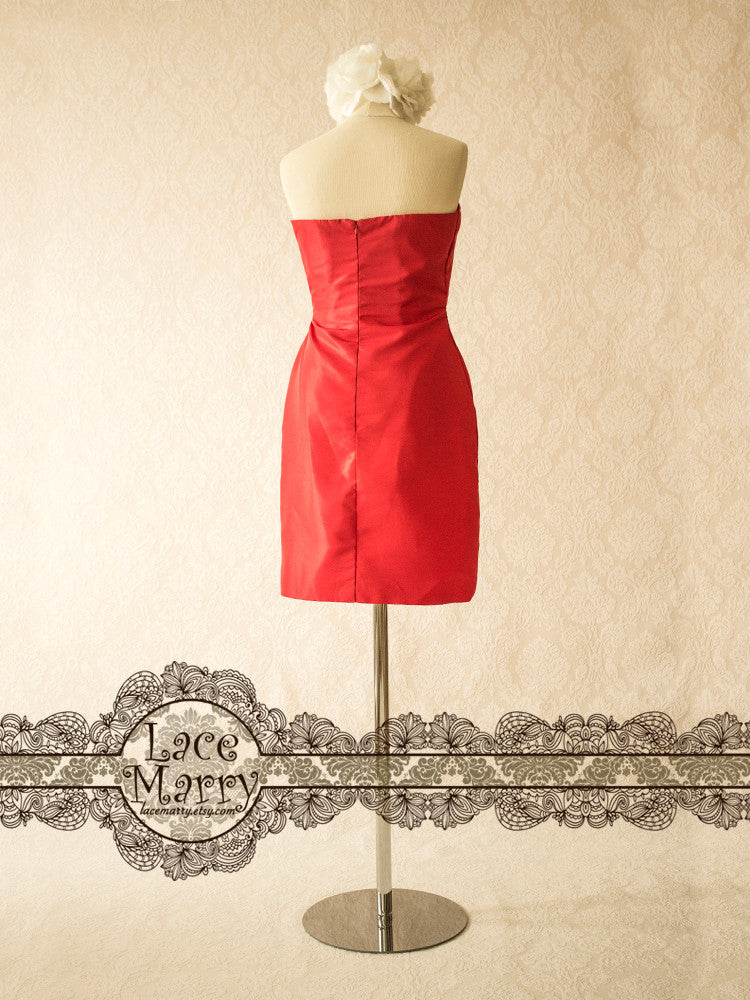 Red Bridesmaid Dress with Sweetheart Neckline