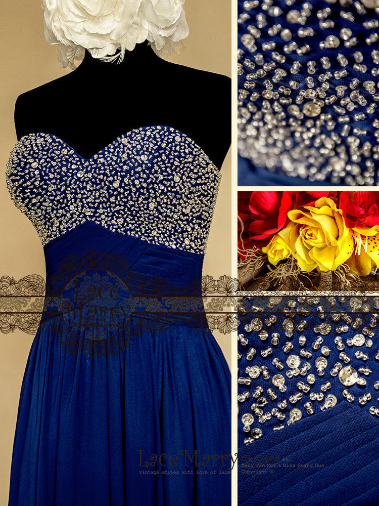 Navy Blue Bridesmaid Dress with Beading