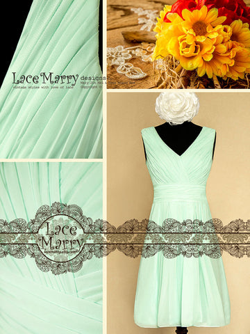 Green Chiffon Bridesmaid Dress in V Neckline Style and Knee Length