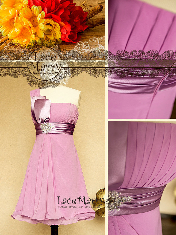 Stunning Pink Knee Length Bridesmaids Dress from Chiffon with Ruched Sash of Shiny Satin featuring Hand Beaded Brooch and One Shoulder Strap