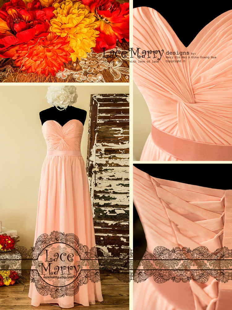 Long Bridesmaid Dress in Blush Pink Chiffon