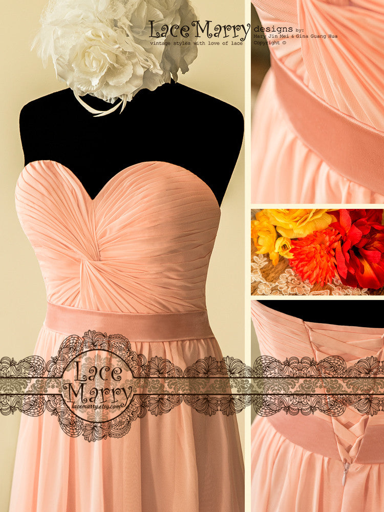 Sweetheart Neckline Rose Pink Bridesmaid Dress