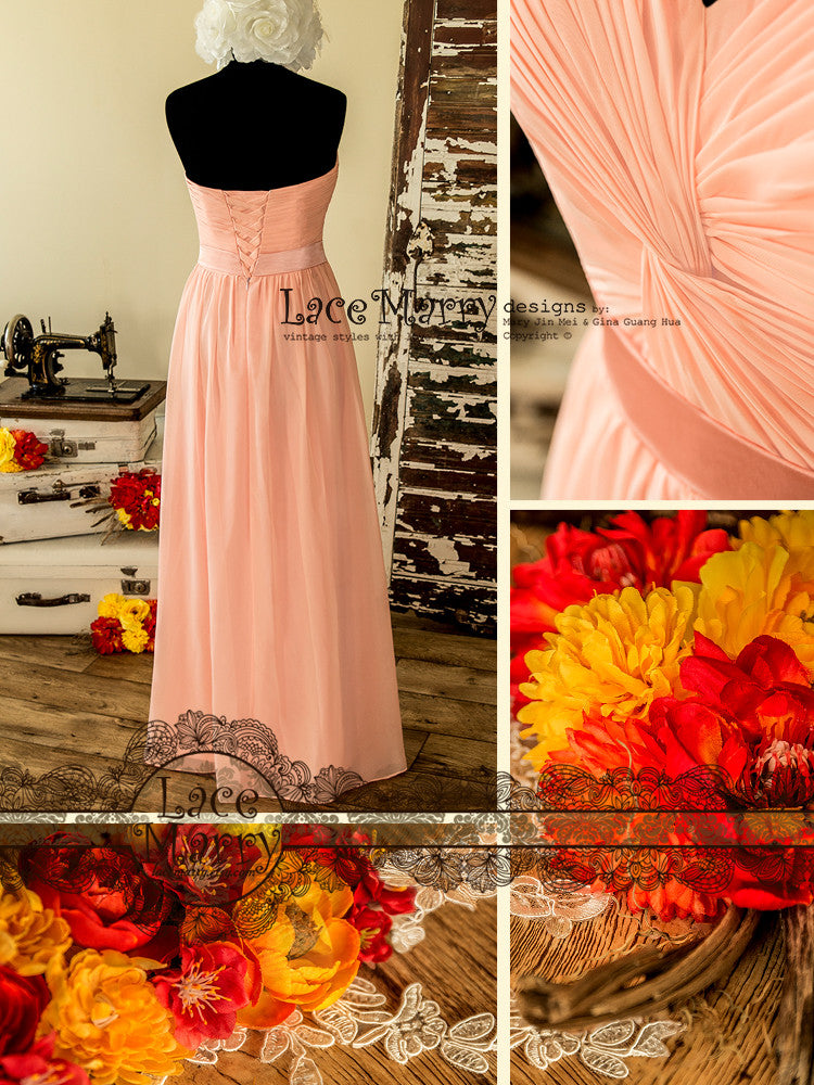 Chiffon Bridesmaid Dress with Lace up Back