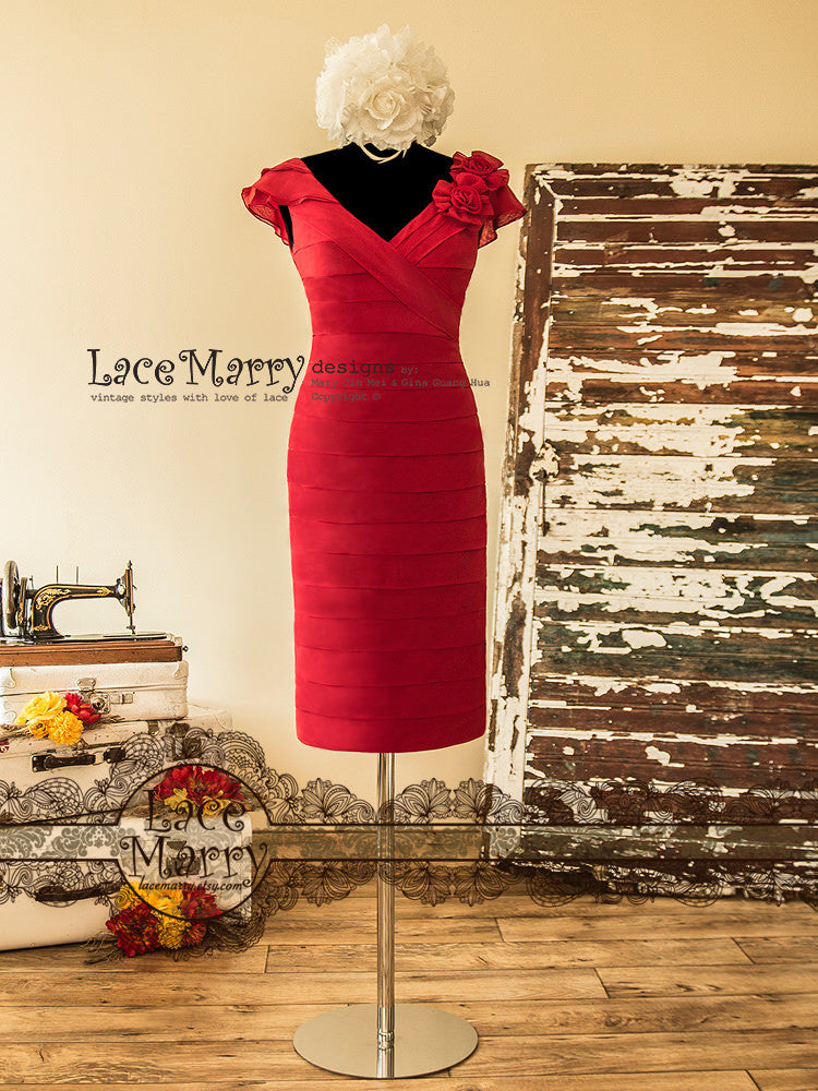 Red Short Bridesmaid Dress in Sheath Shape
