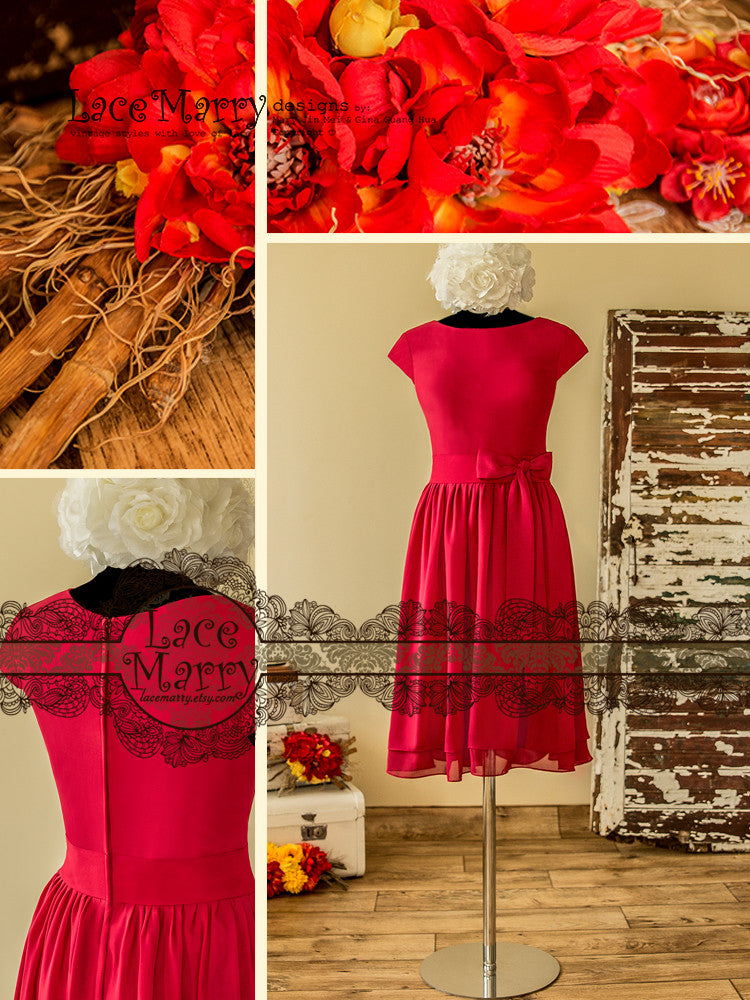 Red Mother of Bride Dress