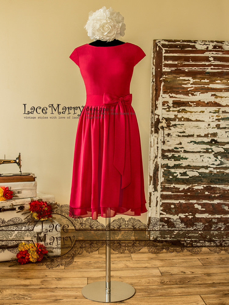 Raspberry Bridesmaid Dress in Knee Length
