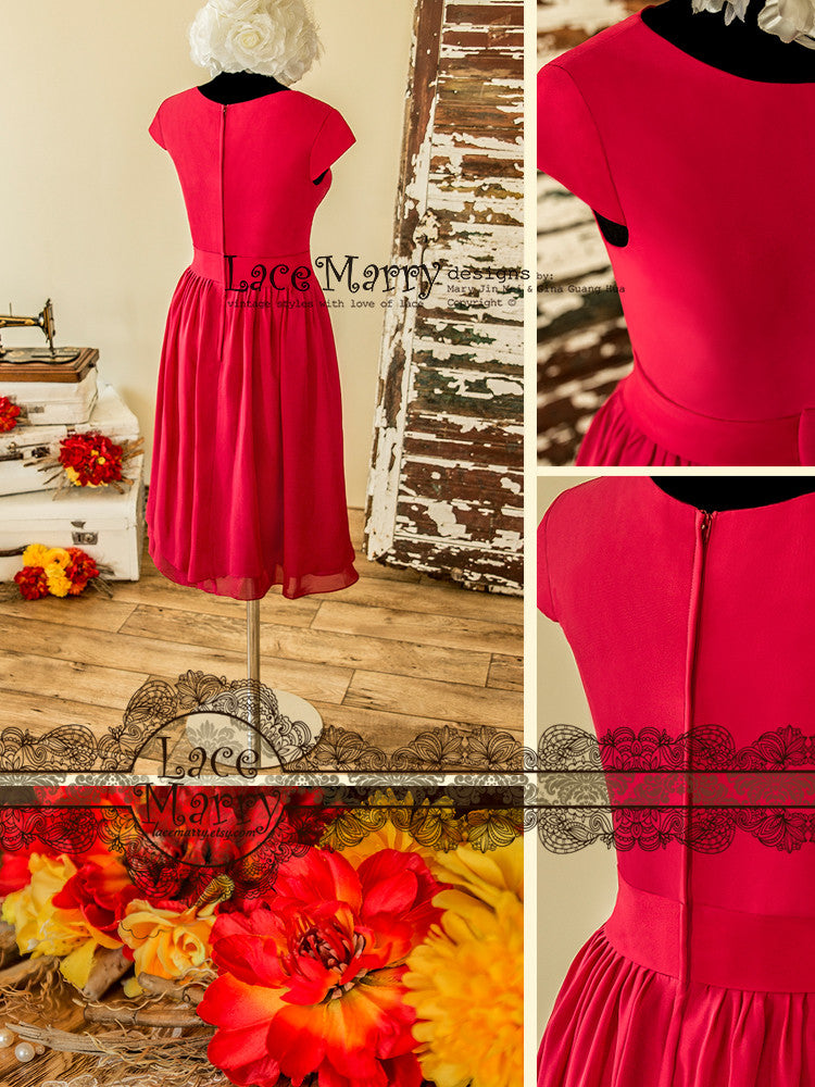 Red Bridesmaid Dress with Cap Sleeves