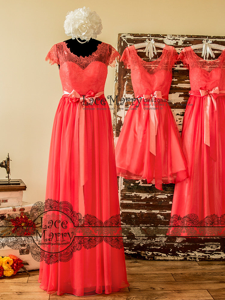 Coral Mismatched Bridesmaid Dresses
