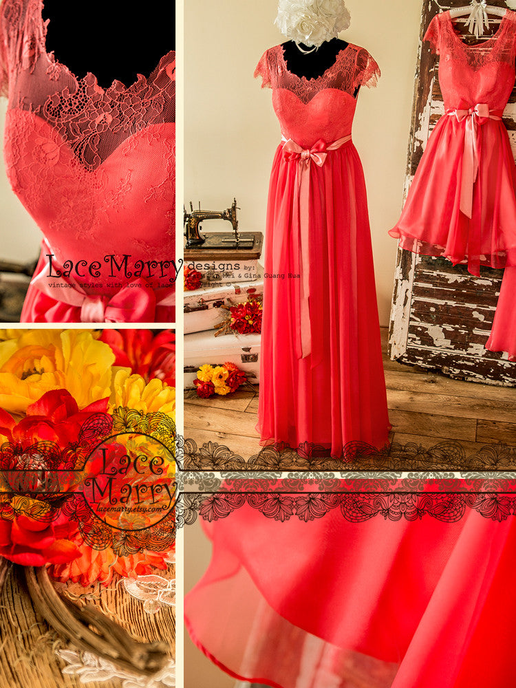 Elegant Prom Dress in Coral Color