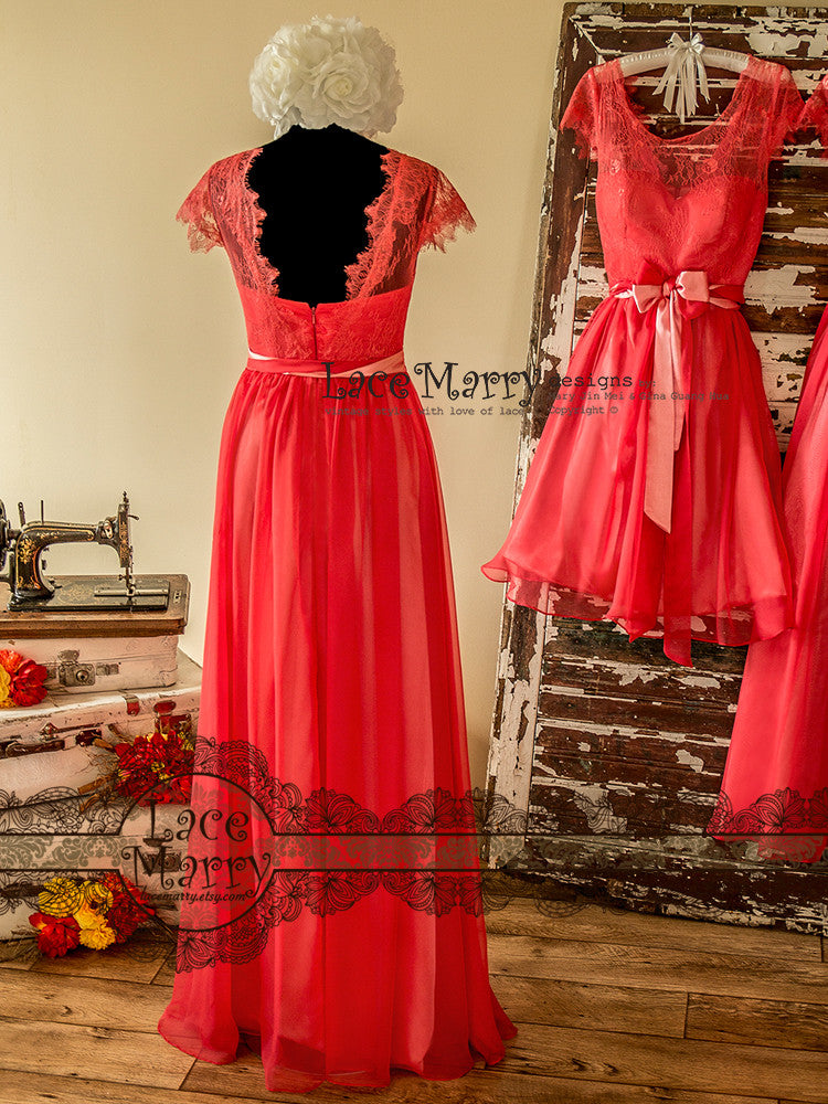 Mismatched Bridesmaid Dress in Coral Color