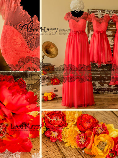 Lace Top Bridesmaid Dress in Coral Color
