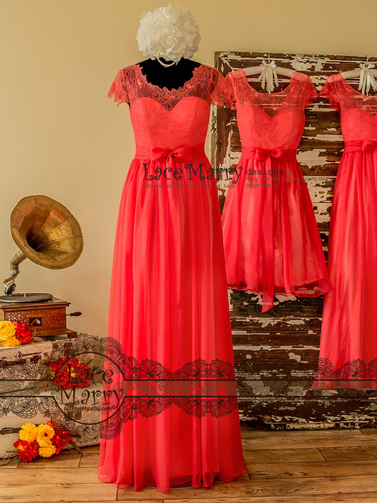 Bright Coral Bridesmaid Dress From Chantilly Lace