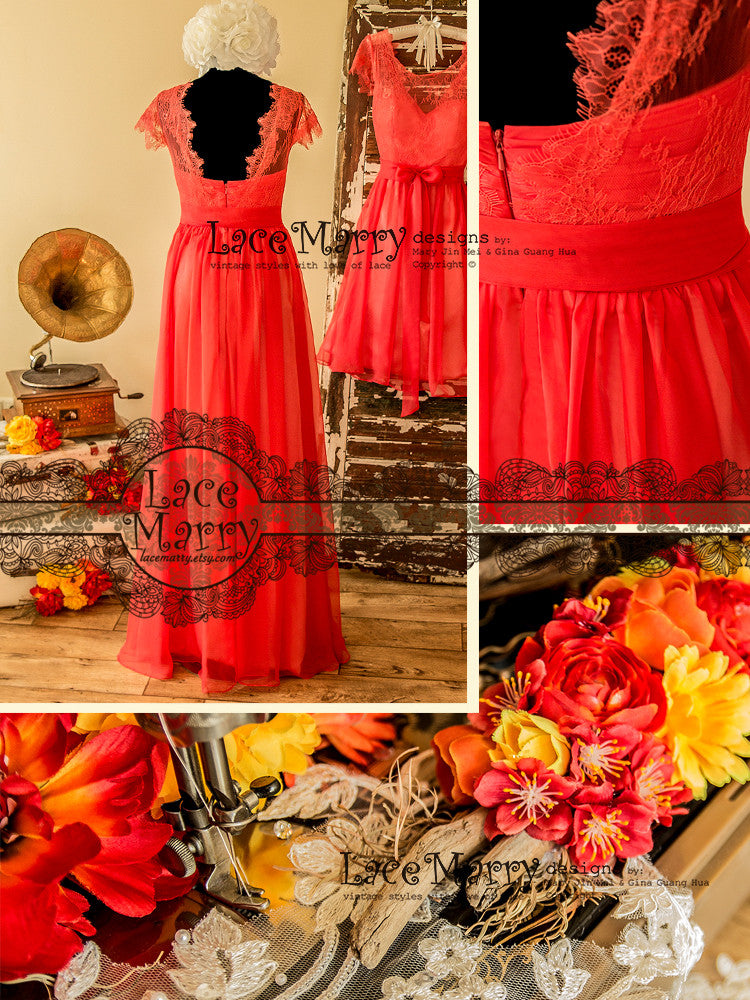 Coral Lace Long Bridesmaid Dress