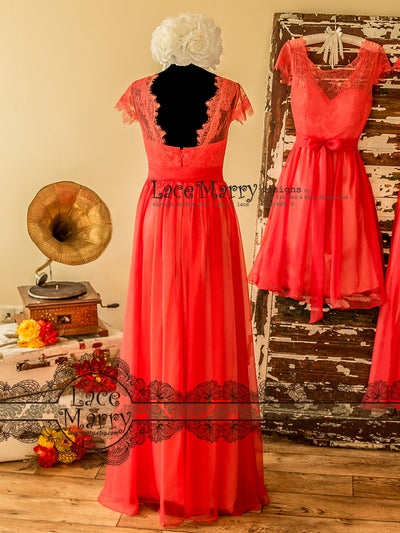 Long Silk Chiffon Bridesmaid Dress with Cap Sleeves