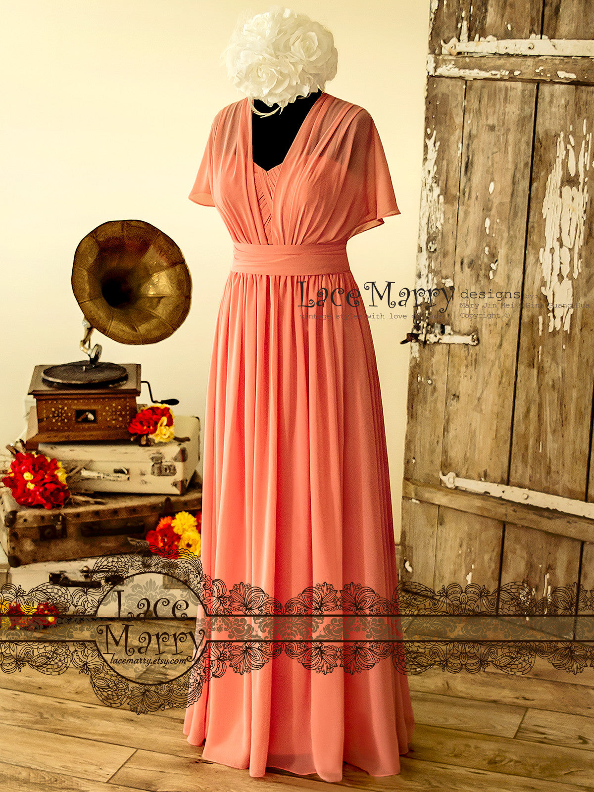Convertible Chiffon Bridesmaid Dress with A Line Maxi Skirt