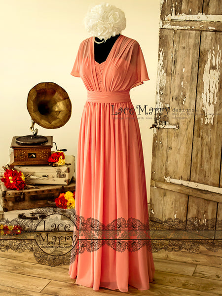 Maxi Bridesmaid Dress in Coral Color