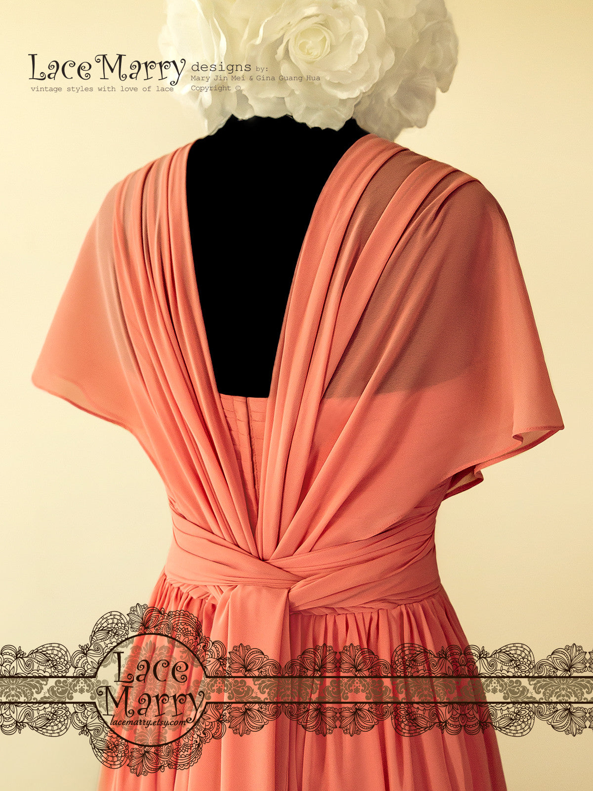 Maxi Prom Dress in Coral Color