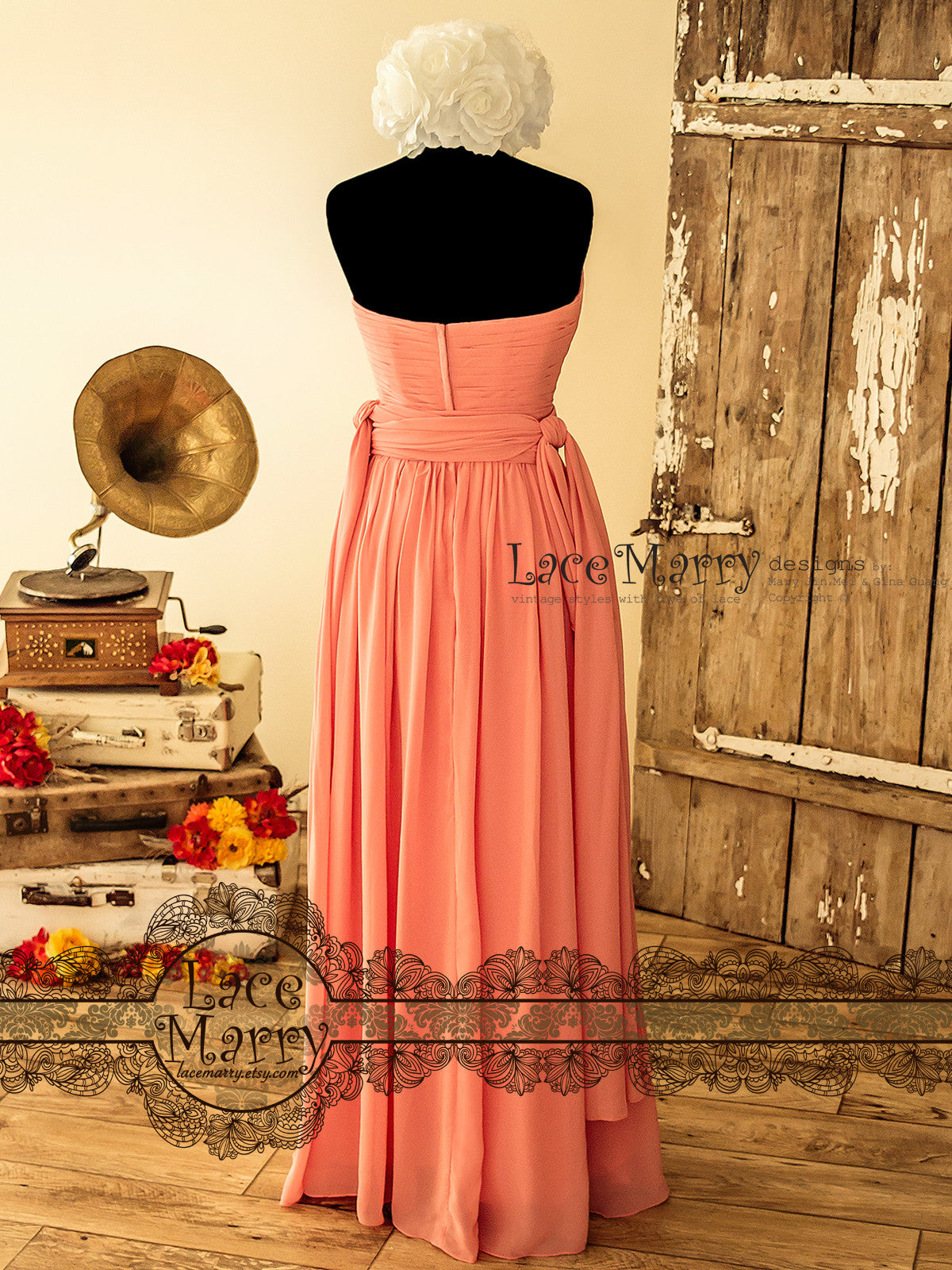 Open Shoulder Coral Color Infinity Bridesmaid Dress
