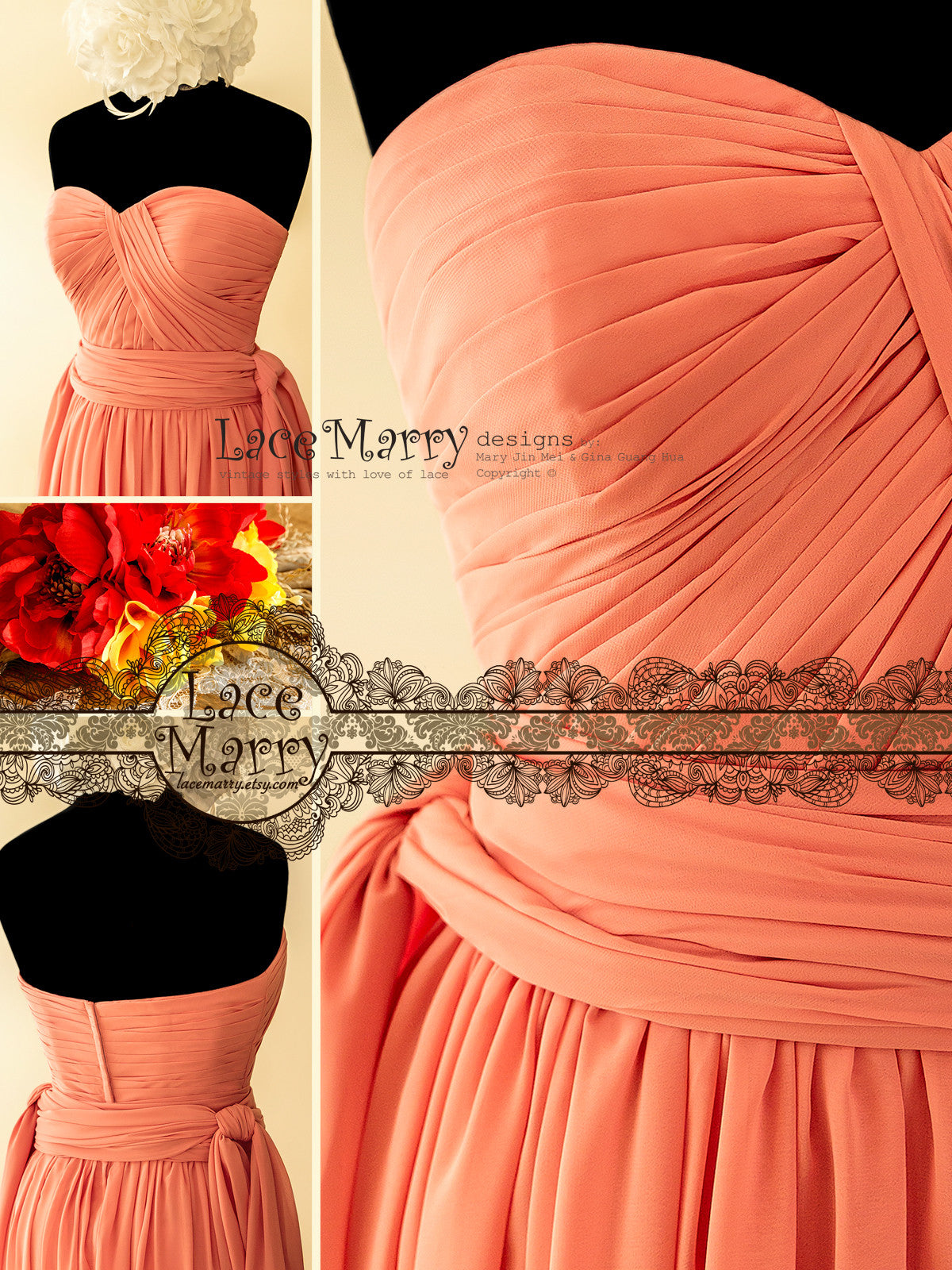 Long Coral Color Prom Dress