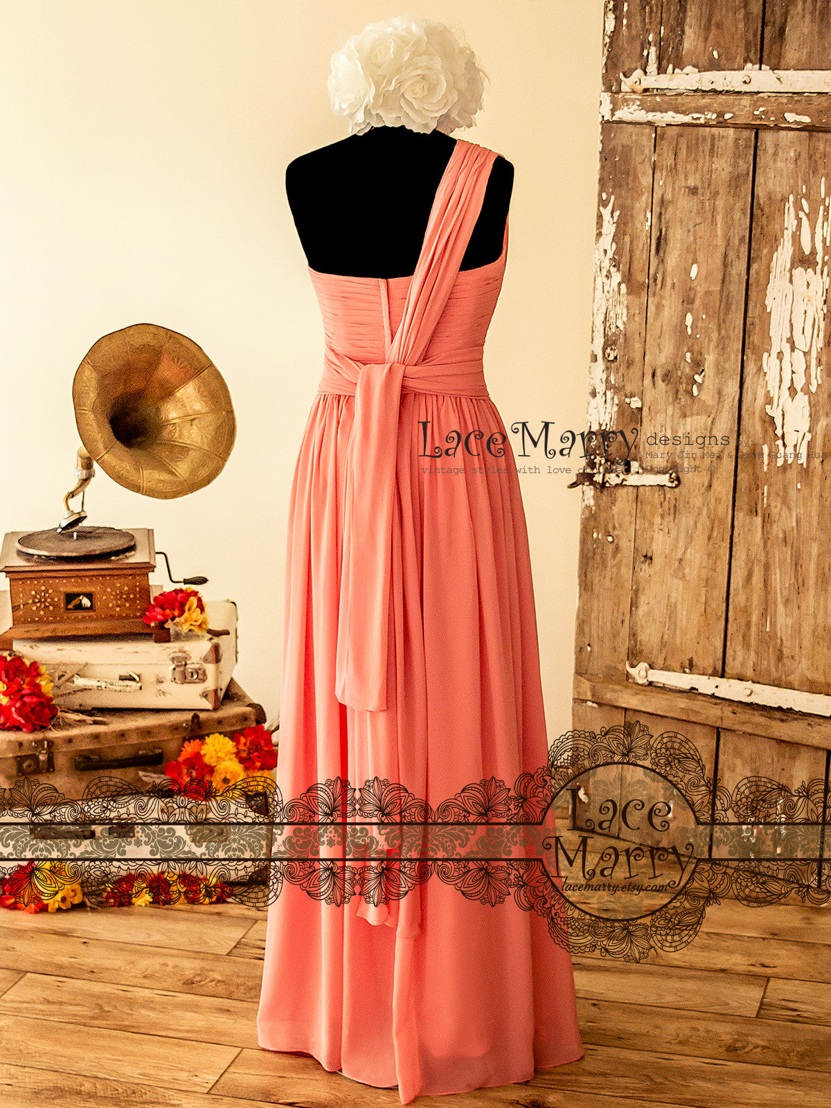 Coral Color Prom Dress with Maxi A Line Shirt