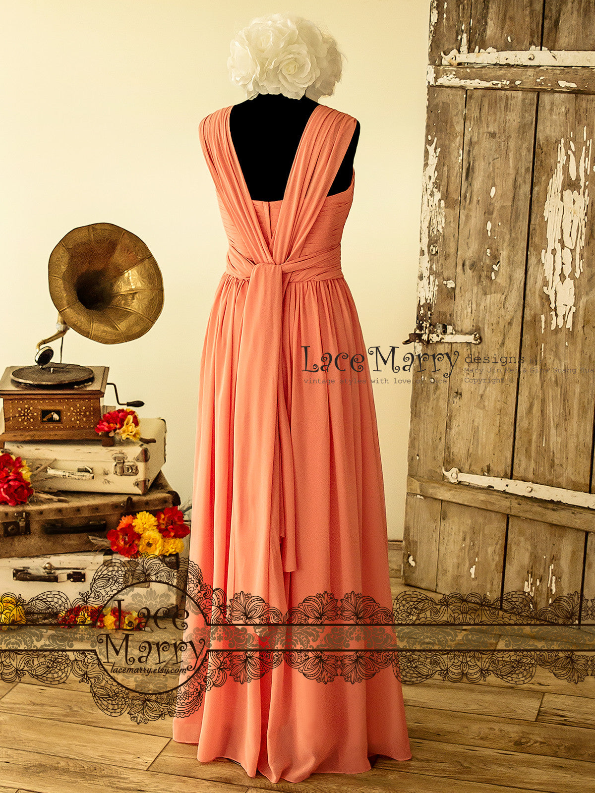 Coral Color Long Infinity Prom Dress