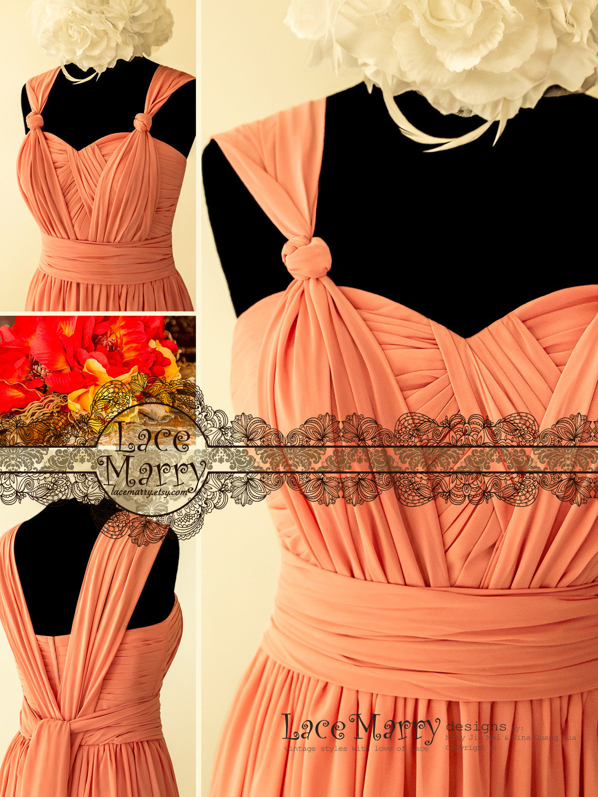Coral Color Convertible Bridesmaid Dress