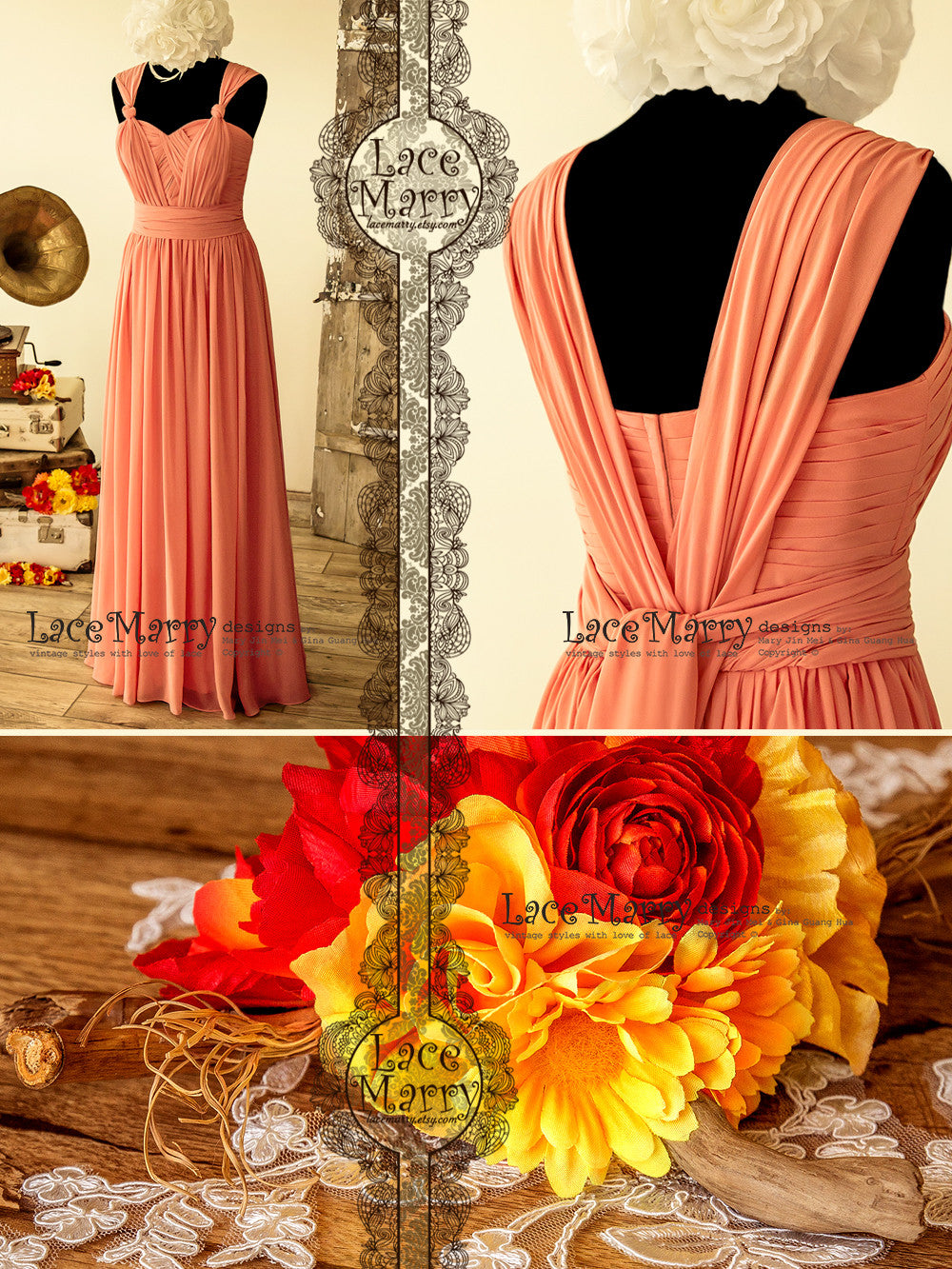 Long Coral Color Infinity Bridesmaid Dress