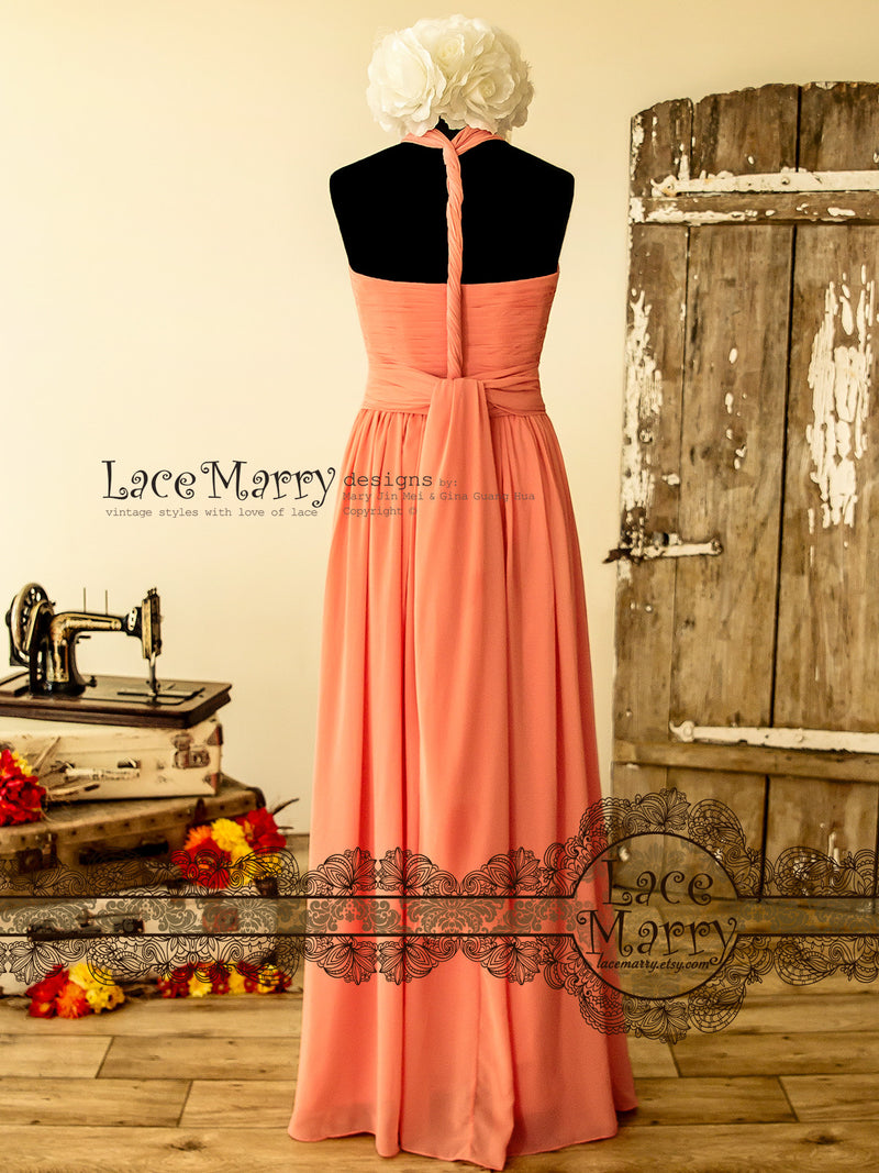 Multiway Chiffon Bridesmaids Dress in Coral Color