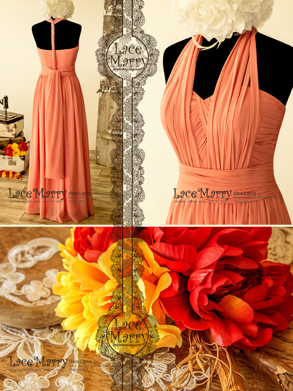 Infinity Coral Color Chiffon Prom Dress