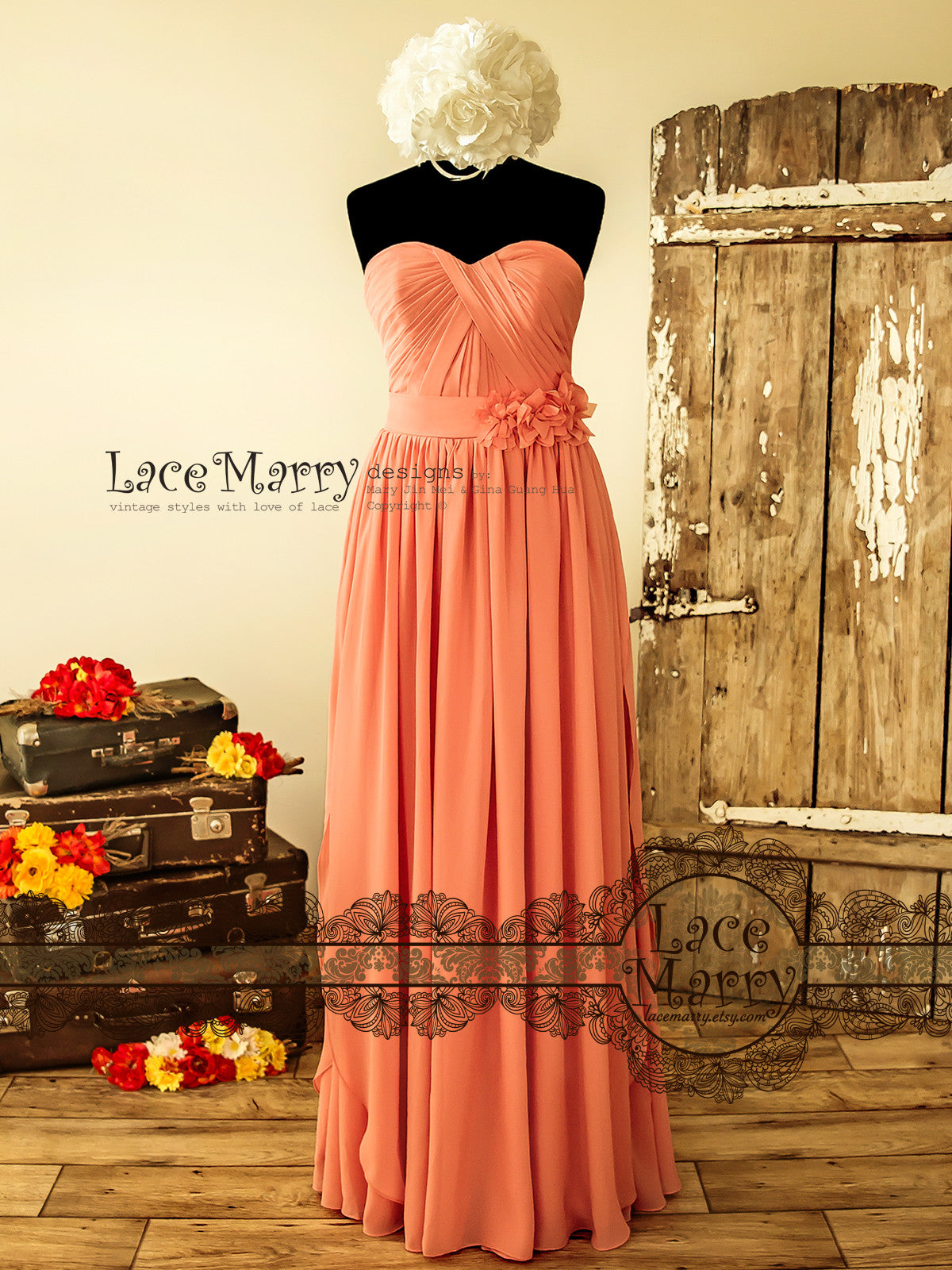 Strapless Chiffon Bridesmaid Dress in Floor Length