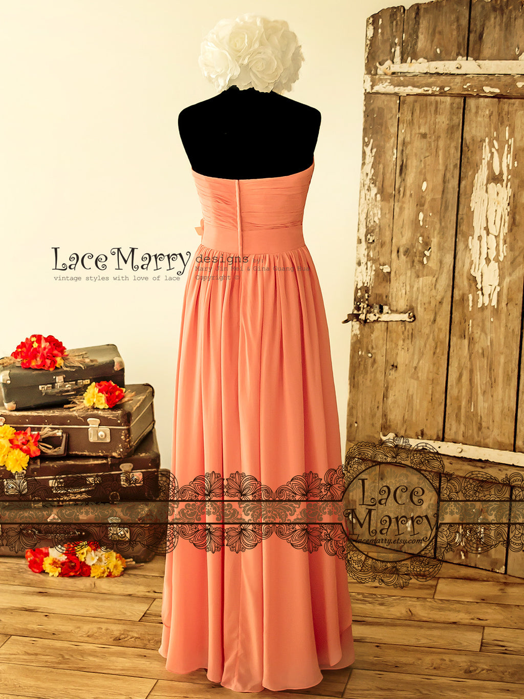 Strapless Chiffon Bridesmaid Dress