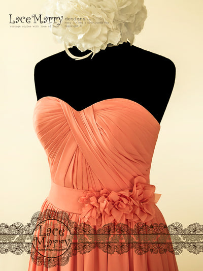 Sweetheart Neckline Coral Prom Dress