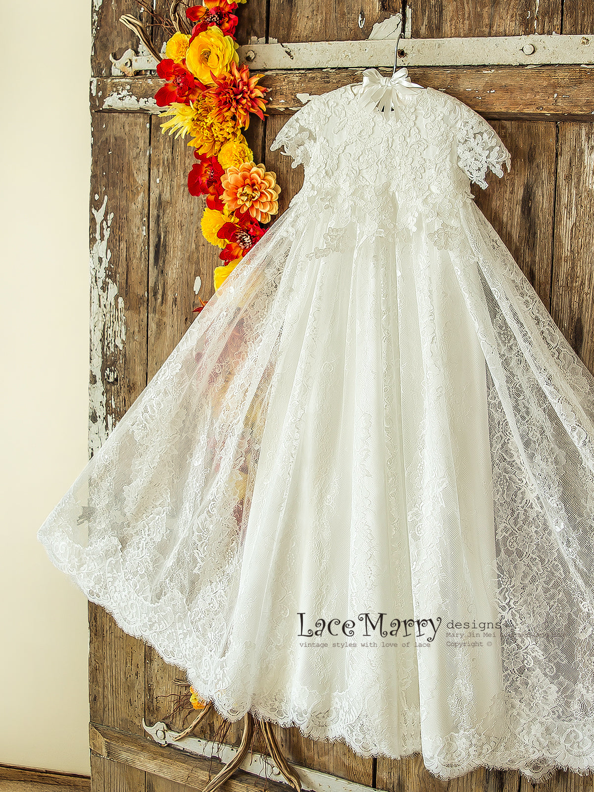 Unique Lace Flower Girl Dress with Small Sleeves and Flowy Lace Skirt Design, Ivory Lace Christening Dress, Baptism Dress