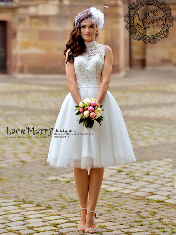 a9b5ef69543 Custom Short Wedding Dress With Sweetheart Illusion Lace Bodice ...