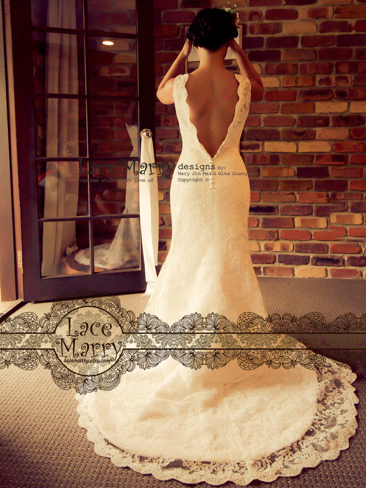 Deep V Cut Back Wedding Dress