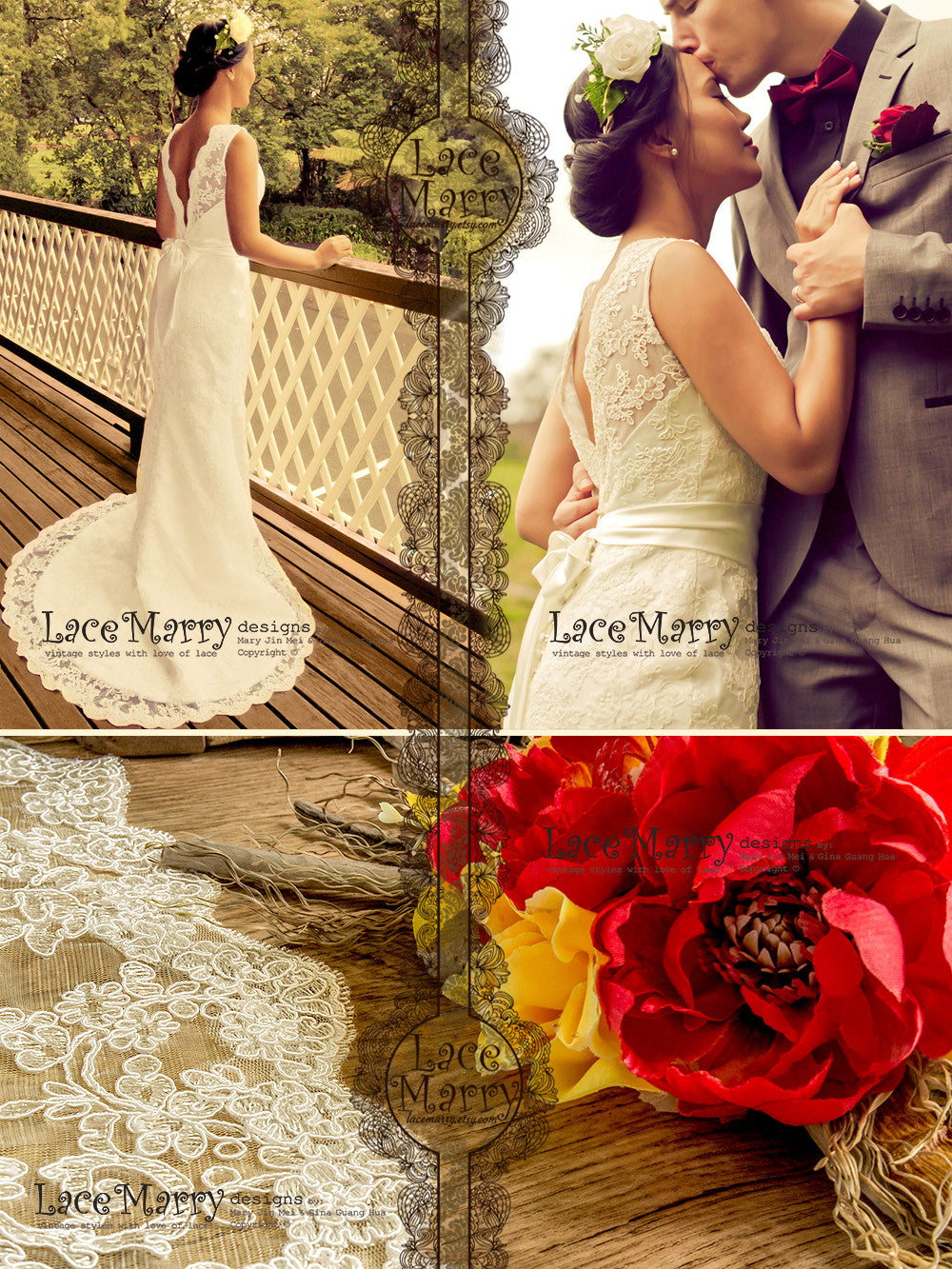 Rustic Style Lace Wedding Dress