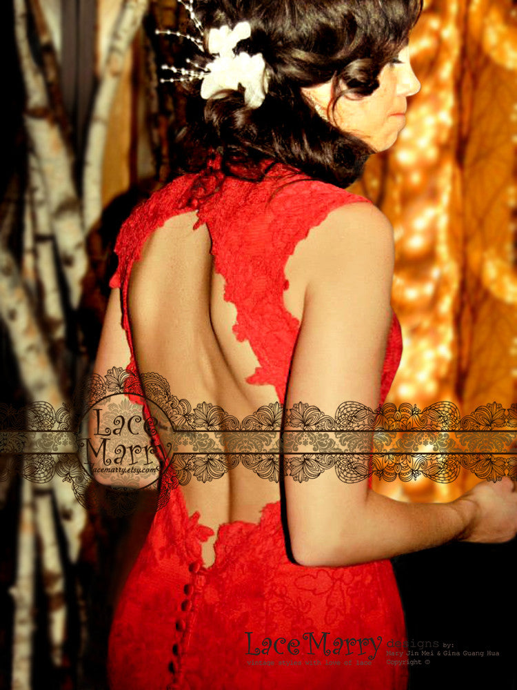 Keyhole Open Back Red Wedding Dress