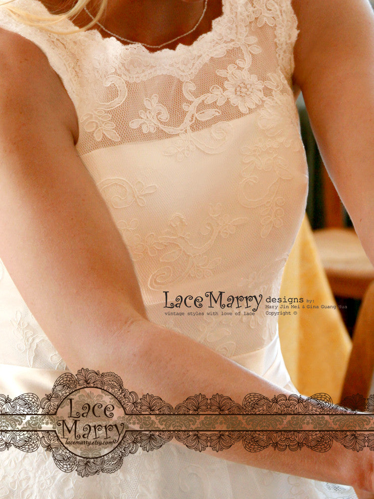 Short Wedding Dress From Alencon Lace With Illusion Scoop Neckline