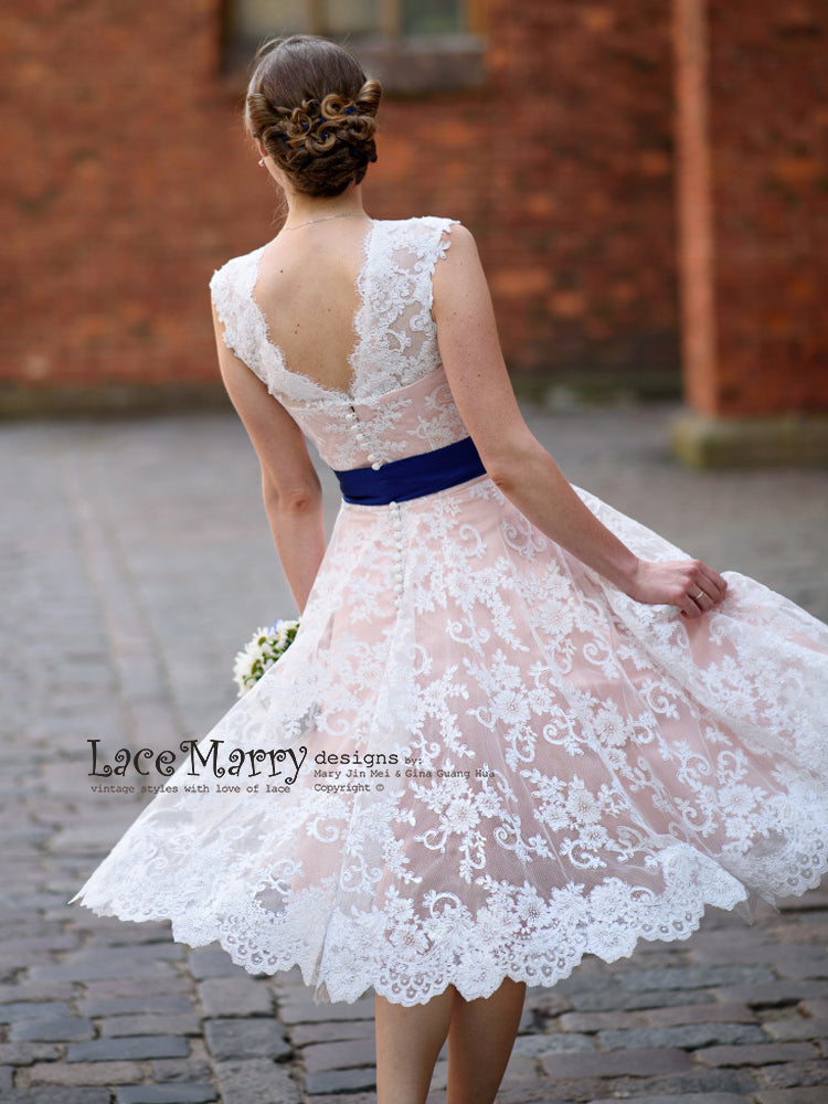 bcca44e671b Short Blush Wedding Dress from Alencon Lace with Knee Length A-Line ...