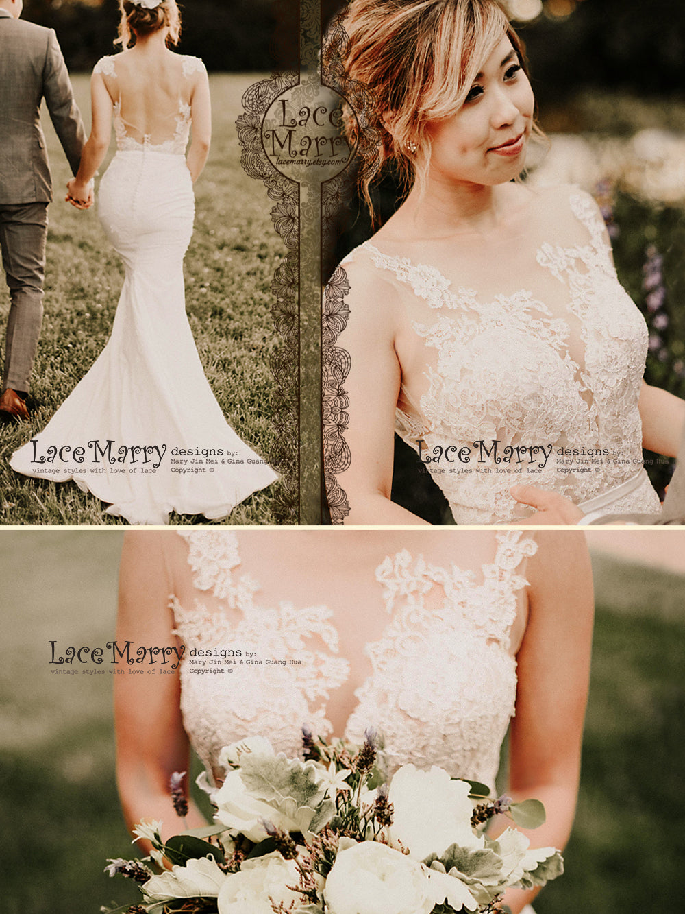 Fitted Boho Wedding Dress With Semi Transparent Top From Lace