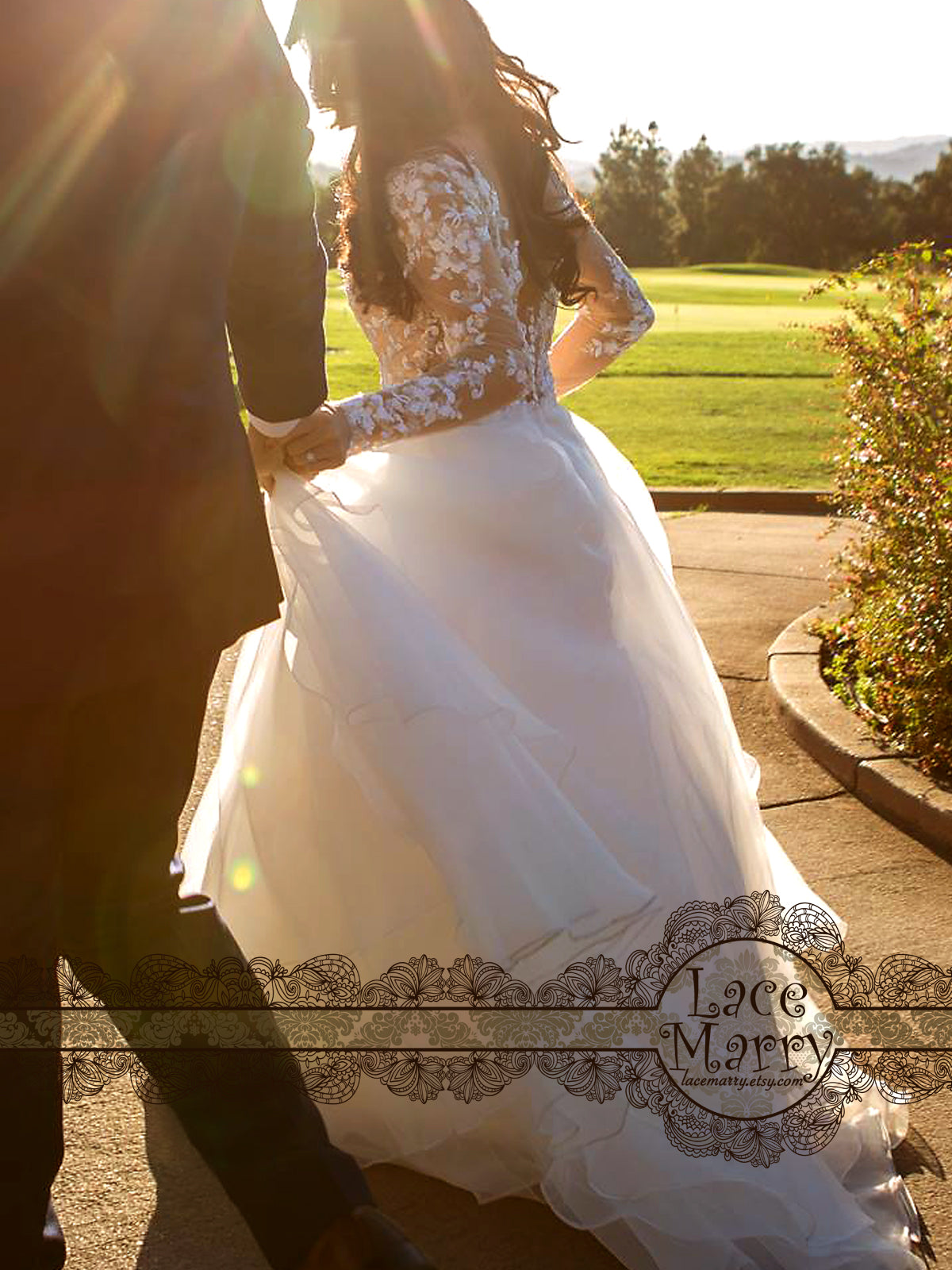 A-Line Wedding Dress with Long Sleeves from Sheer Tulle