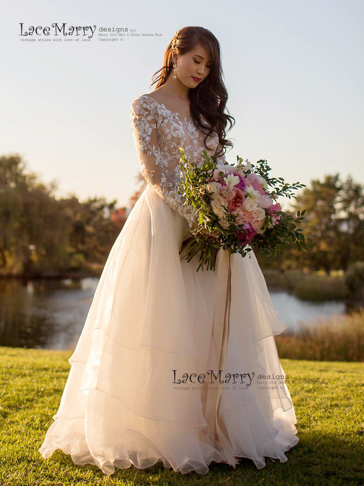 Floor Length A-Line Wedding Dress with Long Sleeves
