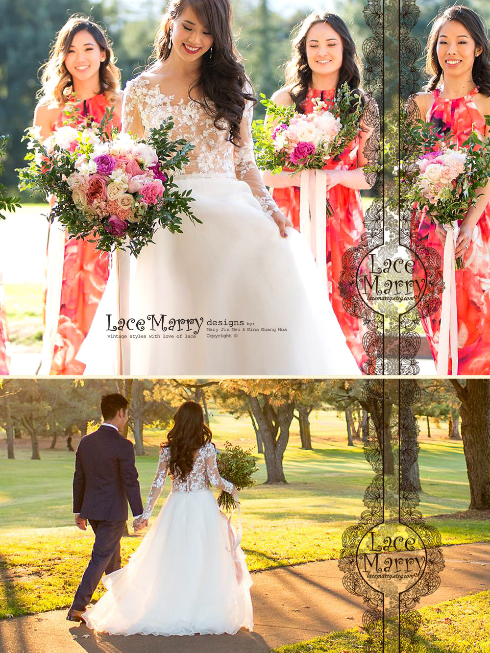 Gorgeous Beaded Wedding Dress with Long Sleeves and Sweep Train